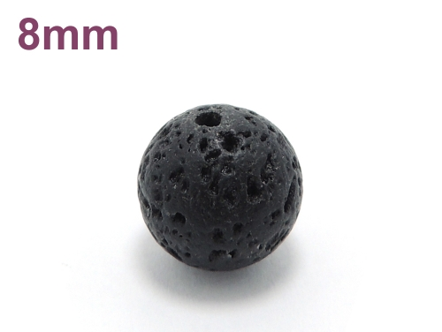 パワーストーン天然石ビーズ粒売り ラバーストーン(溶岩石)AAAA8ミリ 対人関係 ハンドメイド・手作りアクセサリー用 (10025)