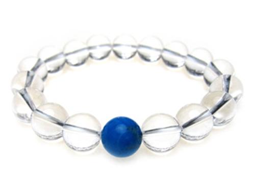 パワーストーンブレスレット ハウライトトルコ(ブルー)10ミリ クリスタル(水晶)AAAAA最高品質(4月誕生石)10ミリ 健康・癒し・開運 [サイズ選べる][日本製][送料無料] (10249)
