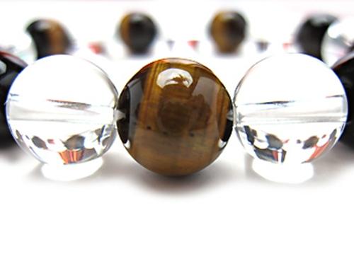 パワーストーンブレスレット(メンズ) タイガーアイ(最高品質)AAAA(10月誕生日石)10ミリ クリスタル(水晶)AAAAA最高品質(4月誕生日石)10ミリ 金運・開運 [サイズ選べる][日本製][送料無料] (10257)
