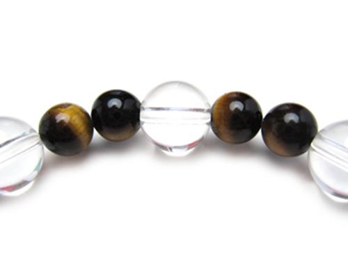 パワーストーンブレスレット タイガーアイAAAA(10月誕生石)6ミリ クリスタル(水晶)AAAAA最高品質(4月誕生石)8ミリ 金運・開運 [サイズ選べる][日本製][送料無料] (10258)