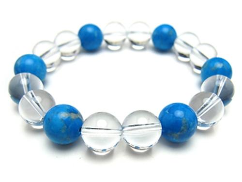 パワーストーンブレスレット ハウライトトルコ(ブルー)10ミリ クリスタル(水晶)AAAAA最高品質(4月誕生石)10ミリ 健康・癒し・開運 [サイズ選べる][日本製][送料無料] (10295)