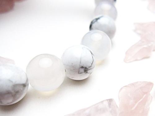 パワーストーンブレスレット ホワイトカルセドニーAAAA(6月誕生石)8ミリ ホワイトハウライトAAAA8ミリ 対人関係・健康・癒し [サイズ選べる][日本製][送料無料] (10315)