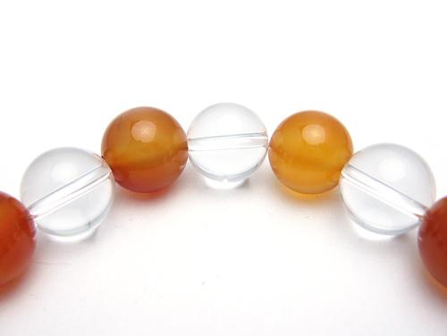 パワーストーンブレスレット カーネリアンAAAA(7月誕生日石)12ミリ クリスタル(水晶)AAAAA最高品質(4月誕生日石)12ミリ 魔除・厄除・開運 [サイズ選べる][日本製][送料無料] (10554)