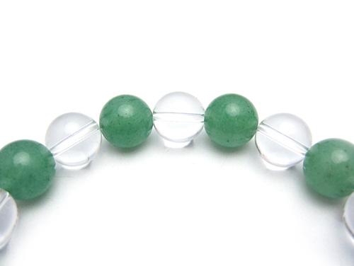 パワーストーンブレスレット グリーンアベンチュリンAAA(5月誕生石)10ミリ クリスタル(水晶)AAAAA最高品質(4月誕生石)10ミリ 健康・癒し・開運 [サイズ選べる][日本製][送料無料] (10556)