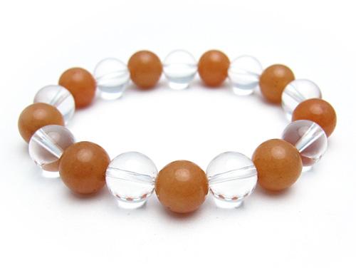 パワーストーンブレスレット オレンジアベンチュリンAAA(5月誕生石)10ミリ クリスタル(水晶)AAAAA最高品質(4月誕生石)10ミリ 仕事運・開運 [サイズ選べる][日本製][送料無料] (10559)