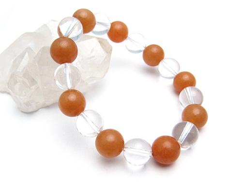 パワーストーンブレスレット オレンジアベンチュリンAAA(5月誕生日石)10ミリ クリスタル(水晶)AAAAA最高品質(4月誕生日石)10ミリ 仕事運・開運 [サイズ選べる][日本製][送料無料] (10559)
