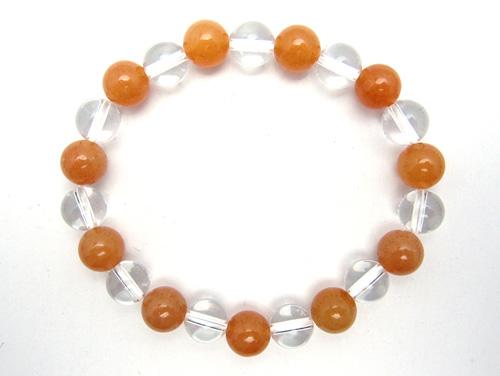 パワーストーンブレスレット オレンジアベンチュリンAAA(5月誕生石)8ミリ クリスタル(水晶)AAAAA最高品質(4月誕生石)8ミリ 仕事運・開運 [サイズ選べる][日本製][送料無料] (10568)