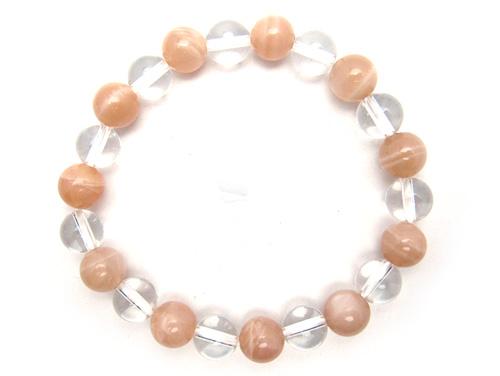 パワーストーンブレスレット オレンジムーンストーンAAAA(6月誕生石)8ミリ クリスタル(水晶)AAAAA最高品質(4月誕生石)8ミリ 復縁・恋愛運・開運 [サイズ選べる][日本製][送料無料] (10575)