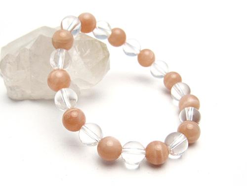 パワーストーンブレスレット オレンジムーンストーンAAAA(6月誕生日石)8ミリ クリスタル(水晶)AAAAA最高品質(4月誕生日石)8ミリ 対人関係・開運 [サイズ選択可][日本製][送料無料] (10575)