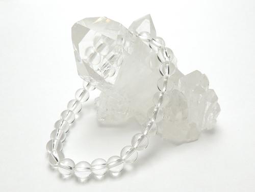 パワーストーンブレスレット クリスタル(水晶)AAAAA最高品質(4月誕生石)6ミリ 開運 ワンカラーブレス [サイズ選べる][日本製][送料無料] (10587)
