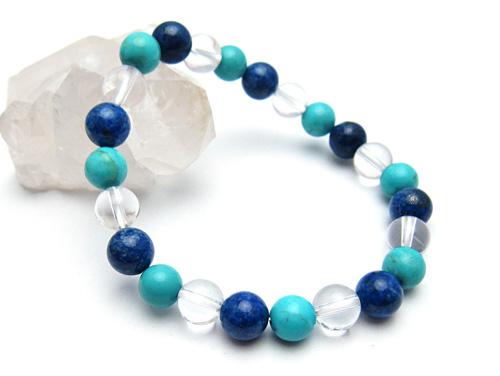 パワーストーンブレスレット ラピスラズリAAA(9月誕生日石)8ミリ ハウライトターコイズ(ブルー)AAAA8ミリ クリスタル(水晶)AAAAA最高品質(4月誕生日石)8ミリ 開運・魔除・厄除 [サイズ選べる][日本製][送料無料] (10594)