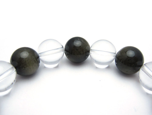 パワーストーンブレスレット(メンズ) グレーオブシディアン(黒曜石)AAAA12ミリ クリスタル(水晶)AAAAA最高品質(4月誕生日石)12ミリ 才能開花・開運 [サイズ選べる][日本製][送料無料] (10606)