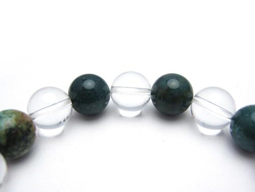 パワーストーンブレスレット ブラッドストーンAAAA(3月誕生石)10ミリ クリスタル(水晶)AAAAA最高品質(4月誕生石)10ミリ 魔除・厄除・開運 [サイズ選べる][日本製][送料無料] (10614)
