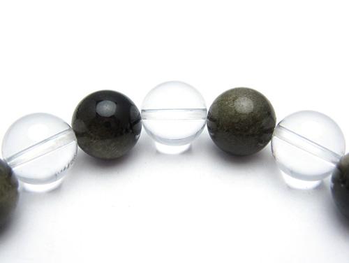 パワーストーンブレスレット(メンズ) グレーオブシディアン(黒曜石)AAAA10ミリ クリスタル(水晶)AAAAA最高品質(4月誕生石)10ミリ 才能開花・開運 [サイズ選べる][日本製][送料無料] (10615)