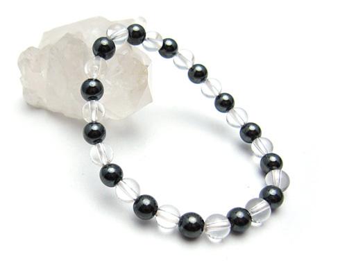 パワーストーンブレスレット ヘマタイトAAAA6ミリ クリスタル(水晶)AAAAA最高品質(4月誕生石)6ミリ 健康・癒し・開運 [サイズ選べる][日本製][送料無料] (10645)