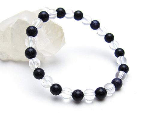 パワーストーンブレスレット ブルーゴールドストーン(人工石)6ミリ クリスタル(水晶)AAAAA最高品質(4月誕生石)6ミリ 開運 [サイズ選べる][日本製][送料無料] (10656)