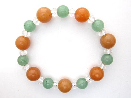 パワーストーンブレスレット オレンジアベンチュリンAAA(5月誕生石)10ミリ グリーンアベンチュリンAAA(5月誕生石)8ミリ クリスタル(水晶)AAAA(4月誕生石)ボタン6ミリ 仕事運・健康・癒し・開運 [サイズ選べる][日本製][送料無料] (10670)