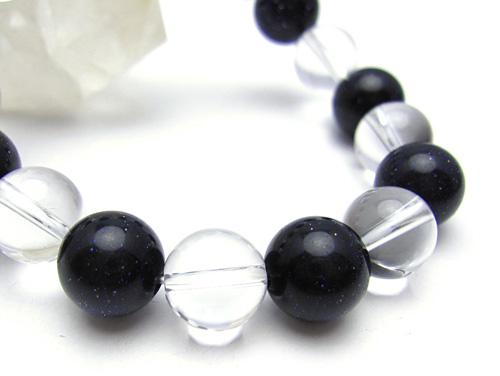 パワーストーンブレスレット(メンズ) ブルーゴールドストーン(人工石)10ミリ クリスタル(水晶)AAAAA最高品質(4月誕生石)10ミリ 開運 [サイズ選べる][日本製][送料無料] (10677)
