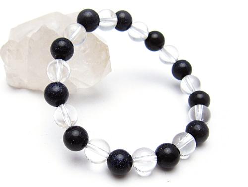 パワーストーンブレスレット ブルーゴールドストーン(人工石)8ミリ クリスタル(水晶)AAAAA最高品質(4月誕生日石)8ミリ 開運 [サイズ選べる][日本製][送料無料] (10685)