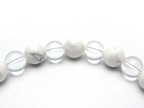 パワーストーンブレスレット ホワイトハウライトAAAA8ミリ クリスタル(水晶)AAAAA最高品質(4月誕生石)8ミリ 健康・癒し・開運 [サイズ選べる][日本製][送料無料] (10690)