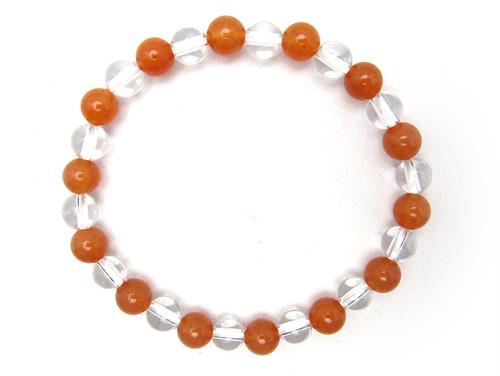 パワーストーンブレスレット オレンジアベンチュリンAAA(5月誕生日石)6ミリ クリスタル(水晶)AAAAA最高品質(4月誕生日石)6ミリ 仕事運・開運 [サイズ選べる][日本製][送料無料] (10691)