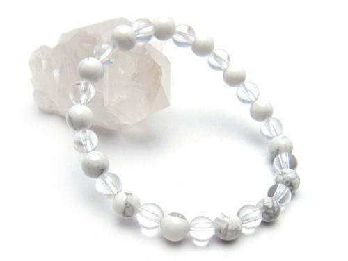 パワーストーンブレスレット ホワイトハウライトAAAA6ミリ クリスタル(水晶)AAAAA最高品質(4月誕生石)6ミリ 健康・癒し・開運 [サイズ選べる][日本製][送料無料] (10695)