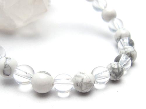パワーストーンブレスレット ホワイトハウライトAAAA6ミリ クリスタル(水晶)AAAAA最高品質(4月誕生日石)6ミリ 健康・癒し・開運 [サイズ選べる][日本製][送料無料] (10695)