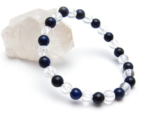 パワーストーンブレスレット ラピスラズリAAAA(9月誕生石)6ミリ クリスタル(水晶)AAAAA最高品質(4月誕生石)6ミリ 開運 [サイズ選べる][日本製][送料無料] (10696)