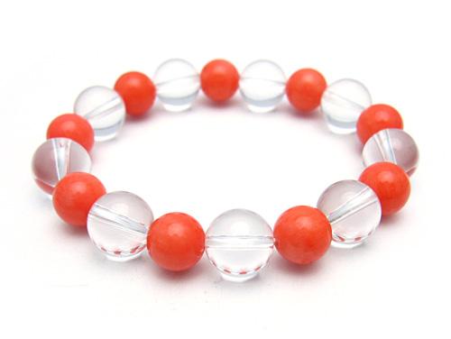パワーストーンブレスレット オレンジコーラルAAAA(3月誕生石)9ミリ クリスタル(水晶)AAAAA最高品質(4月誕生石)10ミリ 魔除・厄除・開運 [サイズ選べる][日本製][送料無料] (10777)