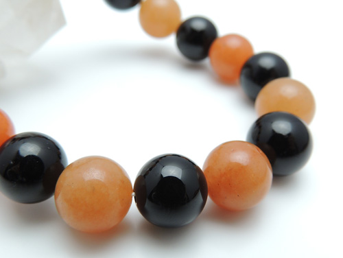 パワーストーンブレスレット オレンジアベンチュリンAAA(5月誕生石)10ミリ オニキスAAAAA最高品質(8月誕生石)10ミリ 魔除・厄除・仕事運 [サイズ選べる][日本製][送料無料] (10811)
