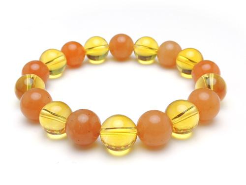 パワーストーンブレスレット シトリンクォーツAAA(11月誕生石)10ミリ オレンジアベンチュリンAAA(5月誕生石)10ミリ 金運・仕事運 [サイズ選べる][日本製][送料無料] (10909)