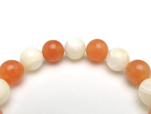 パワーストーンブレスレット マザーオブパールAAA(6月誕生石)10ミリ オレンジアベンチュリンAAA(5月誕生石)10ミリ 魔除・厄除・仕事運 [サイズ選べる][日本製][送料無料] (10948)