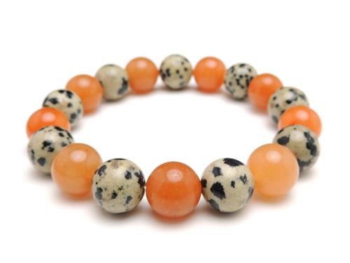 パワーストーンブレスレット オレンジアベンチュリンAAA(5月誕生石)10ミリ ダルメシアンジャスパーAAA10ミリ 仕事運・才能開花 [サイズ選べる][日本製][送料無料] (10975)