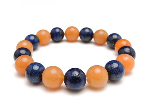 パワーストーンブレスレット ラピスラズリAAAA(9月誕生石)10ミリ オレンジアベンチュリンAAA(5月誕生石)10ミリ 開運・仕事運 [サイズ選べる][日本製][送料無料] (10976)