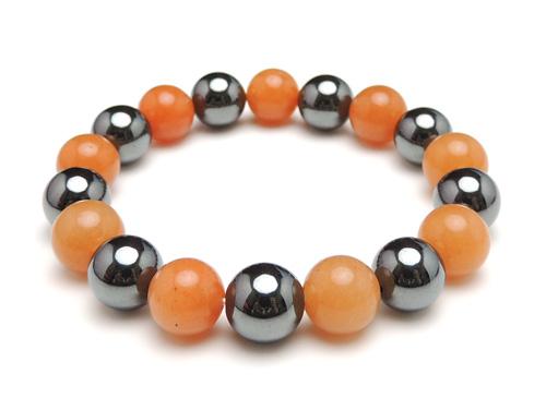 パワーストーンブレスレット オレンジアベンチュリンAAA(5月誕生石)10ミリ ヘマタイトAAAA10ミリ 仕事運・健康・癒し [サイズ選べる][日本製][送料無料] (10978)
