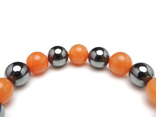 パワーストーンブレスレット オレンジアベンチュリンAAA(5月誕生日石)10ミリ ヘマタイトAAAA10ミリ 仕事運・健康・癒し [サイズ選べる][日本製][送料無料] (10978)