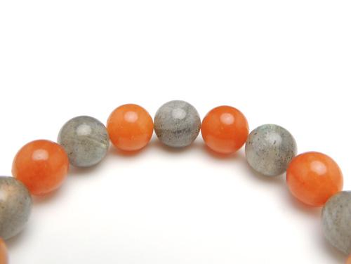 パワーストーンブレスレット ラブラドライトAAA10ミリ オレンジアベンチュリンAAA(5月誕生石)10ミリ 仕事運 [サイズ選べる][日本製][送料無料] (10980)