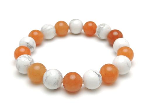 パワーストーンブレスレット オレンジアベンチュリンAAA(5月誕生日石)10ミリ ホワイトハウライトAAAA10ミリ 健康・癒し・仕事運 [サイズ選べる][日本製][送料無料] (11040)