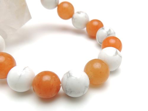 パワーストーンブレスレット オレンジアベンチュリンAAA(5月誕生石)10ミリ ホワイトハウライトAAAA10ミリ 健康・癒し・仕事運 [サイズ選べる][日本製][送料無料] (11040)