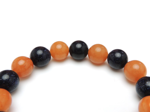 パワーストーンブレスレット オレンジアベンチュリンAAA(5月誕生石)10ミリ ブルーゴールドストーン(人工石)10ミリ 仕事運 [サイズ選べる][日本製][送料無料] (11041)
