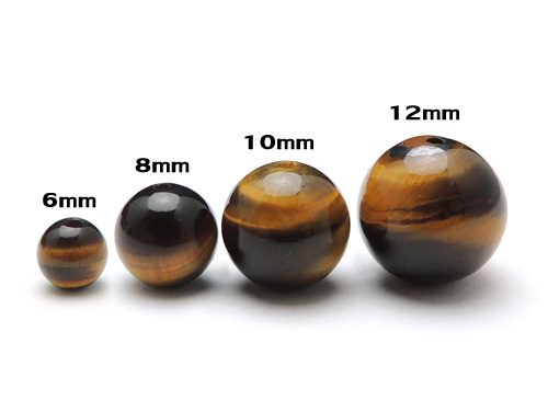 パワーストーン天然石ビーズ粒売り タイガーアイAAAA(10月誕生石)8ミリ 金運 ハンドメイド・手作りアクセサリー用 (11080)