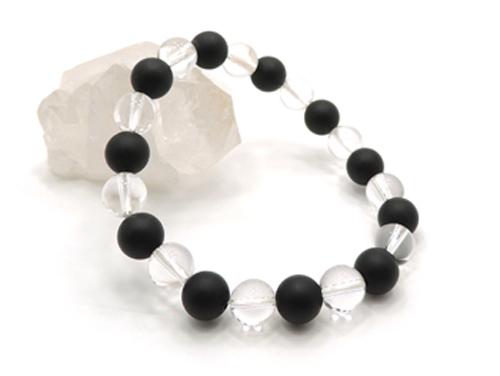 パワーストーンブレスレット オニキス(つや消し)AAAA(8月誕生石)8ミリ クリスタル(水晶)AAAAA最高品質(4月誕生石)8ミリ 仕事運・開運 [サイズ選べる][日本製][送料無料] (11104)