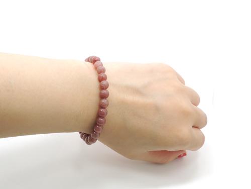 パワーストーンブレスレット レッドクォーツ(赤水晶)AAAA6ミリ 健康・癒し ワンカラーブレス [サイズ選べる][日本製][送料無料] (11109)