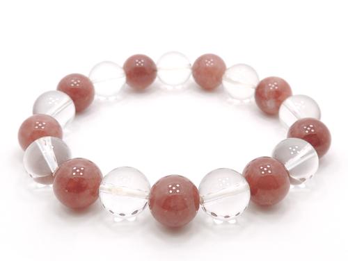 パワーストーンブレスレット レッドクォーツ(赤水晶)AAAA10ミリ クリスタル(水晶)AAAAA最高品質(4月誕生石)10ミリ 健康・癒し・開運 [サイズ選べる][日本製][送料無料] (11110)