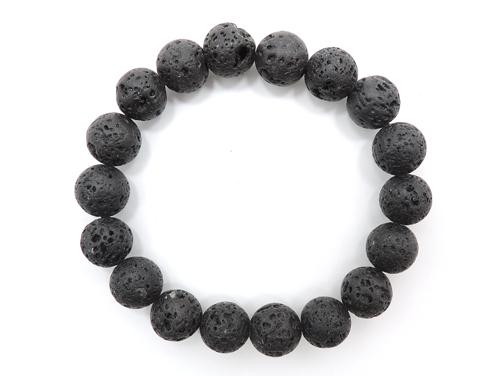 パワーストーンブレスレット(メンズ) ラバーストーン(溶岩石)AAAA10ミリ 対人関係 ワンカラーブレス [サイズ選べる][日本製][送料無料] (11119)