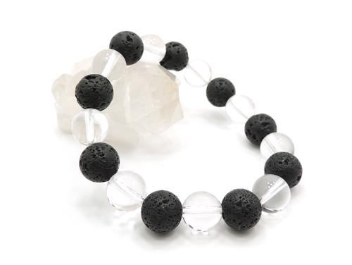 パワーストーンブレスレット ラバーストーン(溶岩石)AAAA10ミリ クリスタル(水晶)AAAAA最高品質(4月誕生日石)10ミリ 対人関係・開運 [サイズ選べる][日本製][送料無料] (11122)
