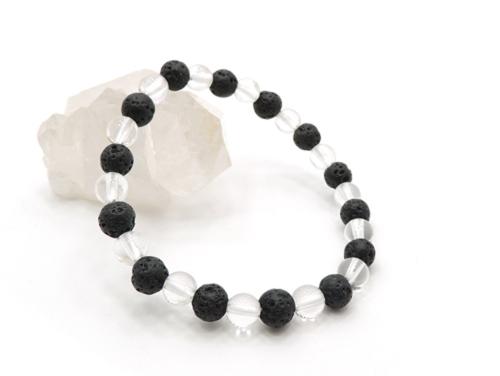 パワーストーンブレスレット ラバーストーン(溶岩石)AAAA6ミリ クリスタル(水晶)AAAAA最高品質(4月誕生日石)6ミリ 対人関係・開運 [サイズ選べる][日本製][送料無料] (11124)