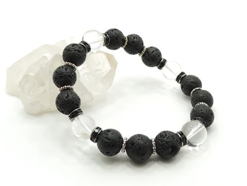 パワーストーンブレスレット ラバーストーン(溶岩石)AAAA10ミリ クリスタル(水晶)AAAAA最高品質(4月誕生日石)10ミリ 対人関係・開運 [サイズ選択可][日本製][送料無料] (11129)