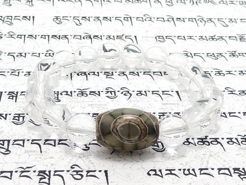 エスニックブレスレット・アジアンパワーストーン チベット天珠(三眼)AAAAナツメ玉14ミリ クリスタル(水晶)AAAAA最高品質(4月誕生日石)8ミリ 金運・開運 [サイズ選べる][日本製][送料無料] (11159)