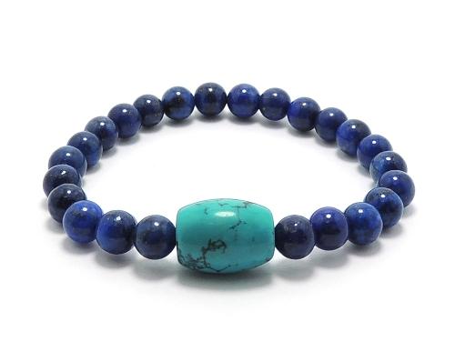 エスニックブレスレット・アジアンパワーストーン ハウライトターコイズ(ブルー)AAAAライス14ミリ ラピスラズリAAAA(9月誕生石)6ミリ 魔除・厄除・開運 [サイズ選べる][日本製][送料無料] (11198)